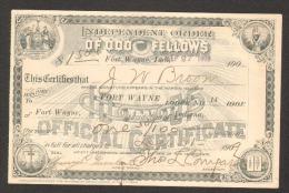 Odd Fellows - Masonic Certificate - Fort Wayne - 1909 - Shareholdings