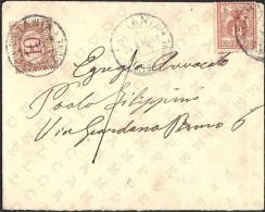 REGNO - CATANIA [24-04-1910] BUSTA CON SEGNATASSE C. 10 (SASSONE N. 6) + FRANCOBOLLO DA C. 2 (SASSONE N. 69) - 1900-44 Vittorio Emanuele III