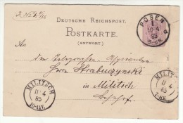 POLAND / GERMAN ANNEXATION 1885  POSTCARD  SENT FROM  POZNAN TO MILICZ - ....-1919 Übergangsregierung