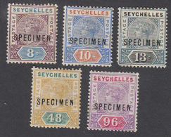 Seychelles 1890  5 Values Specimens  SG3s, 4s, 5s, 7s, 8s  MH - Seychelles (...-1976)