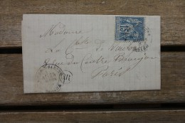 Lettre Affranchie Type Sage Pour Paris Oblitération Type 18 Noyen Sur Sarthe - Poststempel (Briefe)