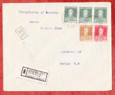 Einschreiben Reco Rueckschein, Dreifarbenfrankatur San Martin, Buenos Aires Nach Berlin, AK-Stempel 1925 (51351) - Argentinien