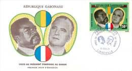 GABON  1971   Visite Du Président Pompidou  FDC Poste Aérienne - Gabon (1960-...)