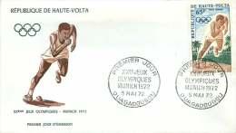 HAUTE VOLTA  1972  Jeux Olympiques De Munich  Courreur FDC  Poste Aérienne - Obervolta (1958-1984)