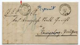Preussen 1877 Marienwerder Reg.Bez. Marienwerder Nach Konigsberg Pr. Entlastet - Preussen (Prussia)