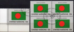 1980 Flagge Bangladesch UNO New York 352,4-Block Aus Kleinbogen O 2€ Bloque Hoja M/s Bloc UN NY Flag Sheet Bf BANGLADESH - Bangladesh