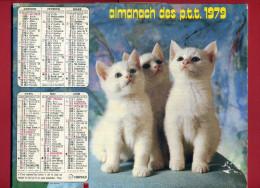 CALENDRIER 1979 CHIEN CHAT IMPRIMEUR OBERTHUR CALENDRIER DOUBLE - Big : 1971-80