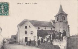 77 MONTEVRAIN  Coin Du Village Animé  Local POMPE à INCENDIE Groupe D´ ENFANTS Devant L´ EGLISE Timbrée 1908 - France
