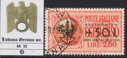 DEUTSCHE BESETZUNG LAIBACH (LJUBLJANA GERMAN OCC.) - Mi 32 - Kv 750 Euro - LUXUS GESTEMPELT - USED - Besetzungen 1938-45