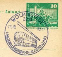 MODELLEISENBAHNAUSSTELLUN G Wolmirstedt 1983 Auf DDR P81 Postkarte Antwort - Eisenbahnen