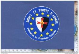 Autocollant - Scout - Fédération Du Scoutisme Européen - Guides Et Scouts D´Europe - Ecu à Croix De Malte Sticker - Autocollants
