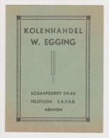 Brochure / Broschüre Kolenhandel W. Egging Te Arnhem  1935 - Coal Trade - Boeken, Tijdschriften, Stripverhalen