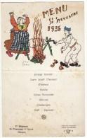 Menu Saint Sylvestre 1936 1er Régiment De Chasseurs à Cheval Alençon Louis Lechat Nouvel An - Menus