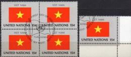 UNO Flagge Vietnam 1980 New York 351+4-Block Aus Kleinbogen O 2€ Bloque Hoja Bloc United State Flag Sheetlet Bf VIET NAM - Vietnam