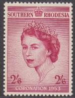 SOUTHERN RHODESIA, 1954  2/6d CORONATION MLH - Rhodesia Del Sud (...-1964)