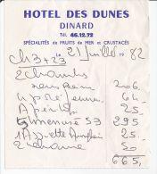 HOTEL DES DUNES - DINARD - Factures