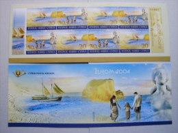 Zypern 1035/6 Yv 1043/4 MH/booklet 5 **/mnh, EUROPA/CEPT 2004, Ferien - Cyprus (Republic)