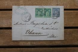 Lettre Affranchie Type Sage Pour Thann Oblitération Type 17 Villefranche Sur Saône Rhône - Marcophilie (Lettres)