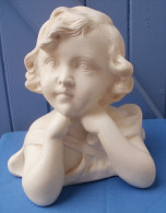 BUSTE Sculpture En Plâtre Fillette Signé 5408 JP-MD - Poids 2k600 - Sculptures