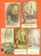 Lot De 5 Images Pieuse Notre Dame De Lourdes - Santini