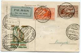 ITALIE CARTE POSTALE PAR AVION AVEC VIGNETTE + CACHETS ROMA 13.12.30 POSTA AEREA + CACHETS VENEZIA 19.12.30 POSTA AEREA. - 1900-44 Victor Emmanuel III