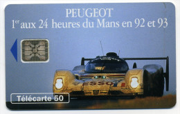 """Télécarte 50 Unites Peugeot 905 1 Voiture 5 N° GE """"0"""" à L'envers (N° 46600) - Unclassified"""