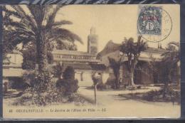 Alger Postcard Orleansville , Le Jardin De LˇHotel De Ville , Stamped Cca 1930 , Unused - Andere Steden