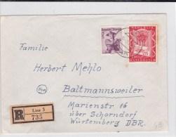 AUTRICHE - 1956 - ENVELOPPE RECOMMANDEE De LINZ Pour BALMANNSWEILER - 1945-60 Brieven