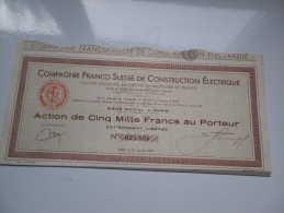 Franco-suisse Construction Electrique (5000 Francs) 1952 - Shareholdings