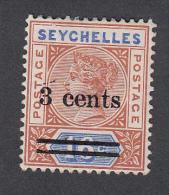 Seychelles 1901  3c On 10c  SG37   MH - Seychelles (...-1976)