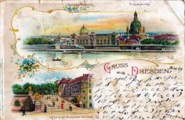 Litho Gruss DRESDEN, Karte Beschädigt - Dresden