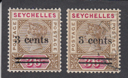 Seychelles 1901  3c On 36c  SG39   MH + Used - Seychelles (...-1976)