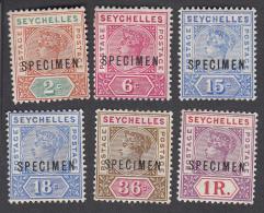 Seychelles 1897  6 Values  SPECIMEN SG28, 29, 30, 31, 32, 34    MH - Seychelles (...-1976)