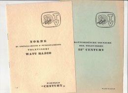 C1412 - LIBRETTO ISTRUZIONI TELEVISORE TV WATT RADIO MOD.CENTURY  Anni '60 - Television