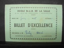 DH. 29. Billet D'excellence Décerné à M. Puly René. Ecole St J.-B. De La Salle à Montpellier. - Documents Historiques