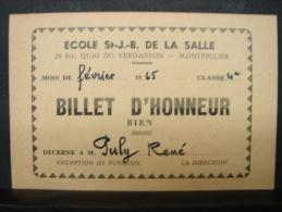 DH. 30. Billet D'excellence Décerné à M. Puly René. Ecole St J.-B. De La Salle à Montpellier. 1965. - Documents Historiques
