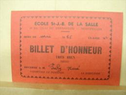 DH. 31. Billet D'excellence Décerné à M. Puly René. Ecole St J.-B. De La Salle à Montpellier. 1965. - Documents Historiques