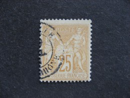 A). TB N° 92, Oblitéré. Cote = 5 Euros. - 1876-1898 Sage (Type II)