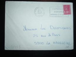 LETTRE TP MARIANNE DE BEQUET 1,00F OBL.MEC. 19-3-1977 GRENOBLE CENTRE DE TRI (38 ISERE) + ESPERANTO CONGRES - Esperanto