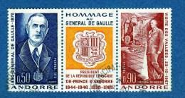 Charles De Gaulle  Andorre Français N° 225A Le Triptyque ( Très Rare Oblitéré). - De Gaulle (Generale)