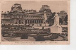PARIS (75) JARDIN DES TUILERIES ET LE LOUVRE - ANIMEE - CPA N/B - VOYAGEE EN 1936 - DOS  BAZAR DE L'HÔTEL DE VILLE - Parcs, Jardins