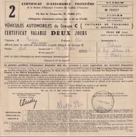 CERIFICAT  D´ASSURANCE  FRONTIERE  /   VOITURE DE TOURISME ET ASSIMILES - Biglietti Di Trasporto