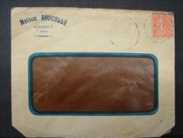 LetDoc. 71. Semeuse 50c. 1927 Entête Publicitaire Maison Roucolle à Gimont + Vignette Au Verso Les Bons Produits Du Gers - Frankrijk