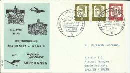 PRIMER VUELO FRANKFURT MADRID 1963 LUFTHANSA AL DORSO MAT LLEGADA - Poste Aérienne