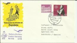 PRIMER VUELO NHAMBURG KOLN BONN FRANKFURT BARCELONA 1959 AL DORSO MAT LLEGADA - Poste Aérienne