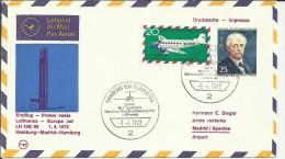 PRIMER VUELO HAMBURG MADRID 1972 LUFTHANSA AL DORSO MAT HEXAGONAL AEROPUERTO MADRID - Poste Aérienne