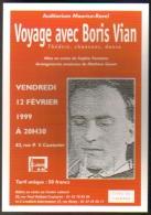 """Carte Postale édition """"Carte à Pub"""" - Voyage Avec Boris Vian (Théâtre, Chansons, Danse) Levallois - Publicité"""