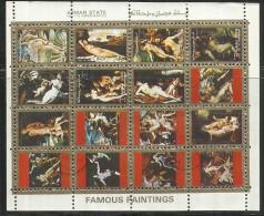 UNITED ARAB EMIRATES AJMAN 1972 FAMOUS PAINTINGS PITTORI FAMOSI FOGLIETTO SHEET USED - Ajman