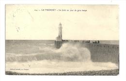 Cp, 76, Le Tréport, La Jetée Un Jour De Gros Temps, Voyagée 1911 - Le Treport