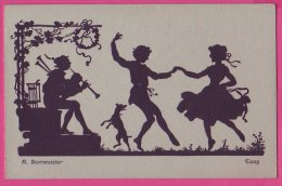 """PC9543 Silhouette Of A Piper, Dog And Dancers Called """"Tanz"""" (dance) By R Borrmeister. - Dance"""